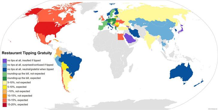 Фото №1 - Карта: сколько чаевых положено давать официантам в разных странах мира
