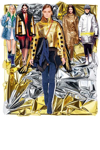 ДРАГМЕТАЛЛЫ Верхняя одежда – пальто и дубленки – блестящая, как вечерние платья