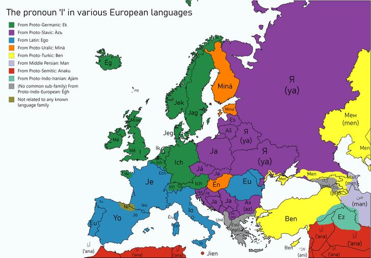Фото №2 - Карта: как звучит местоимение «я» в разных странах Европы