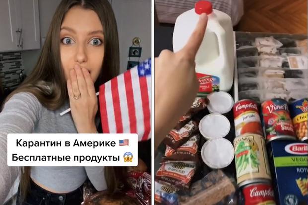 Фото №1 - Россиянка, переехавшая в США, показывает, сколько еды получила бесплатно как помощь в кризис из-за коронавируса (видео)