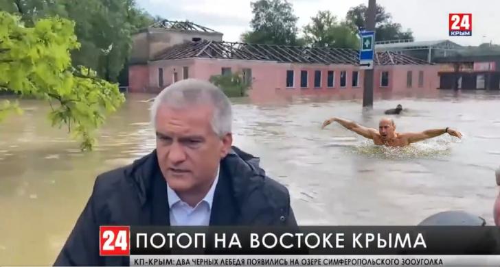 Фото №1 - «Природа настолько очистилась, что вернулись водяные»: кто плыл за губернатором Крыма во время потопа (только шутки и мемы)