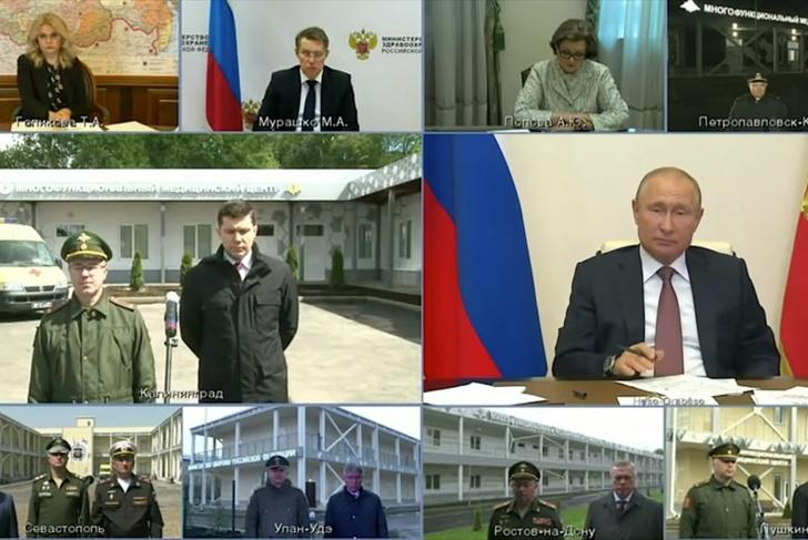 Фото №1 - Пародия на совещание Путина с онлайн-«назначением» начальника госпиталя: если бы микрофоны были включены у всех участников (видео)