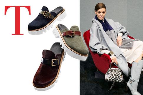 КЛОГИ, TOMMY HILFIGER Хилфигер предлагает носить их с шерстяными носками – они будут выглядеть как ботинки. СУМКА SELLAS ТОНКОЙ РУЧНОЙ ВЫДЕЛКИ, TOD'S Идеально подходит к роскошным пальто, которые делает для Tod's Алессандра Факкинетти.