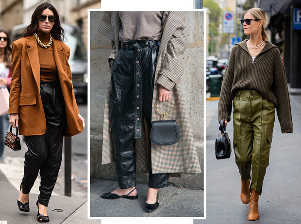 Фото №1 - Как носить кожаные брюки: самые стильные и простые сочетания
