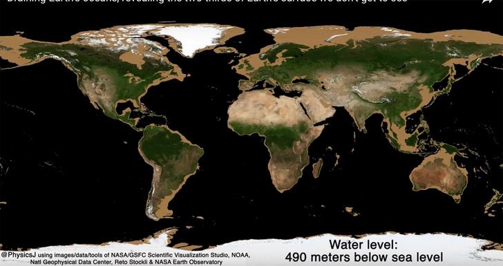 Фото №1 - Как будет выглядеть карта Земли, если уровень океана упадет на 100 метров и ниже