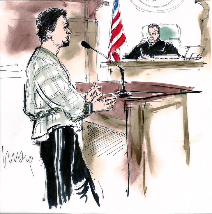 Фото №1 - Почему с заседаний американских судов нет фотографий, а есть зарисовки?