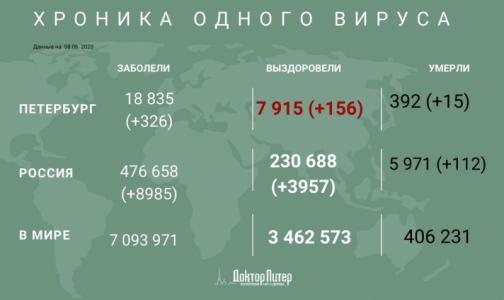 Фото №1 - За сутки коронавирус подтвердили у 326 петербуржцев