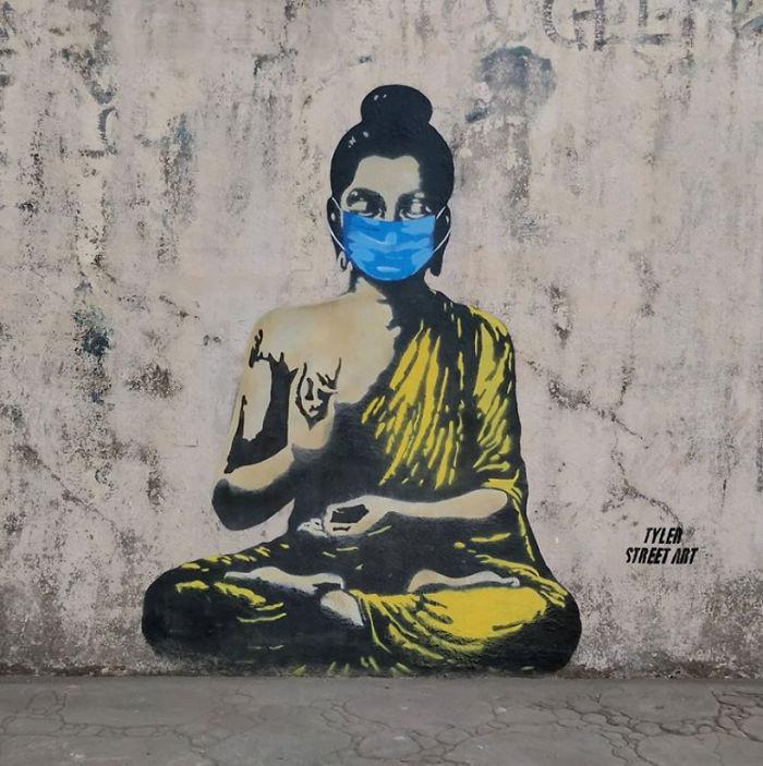 Фото №21 - 20 граффити со всего мира, навеянные коронавирусом