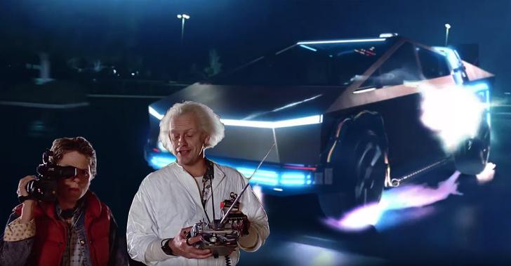 Фото №1 - В «Назад в будущее» вмонтировали Cybertruck Илона Маска (видео)