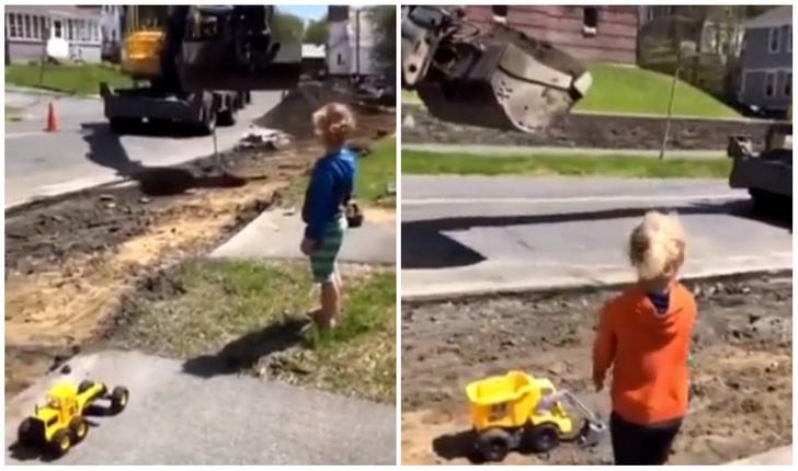 Фото №1 - Видео про то, как водитель экскаватора отвлекся от работы, чтобы порадовать детей, набрало больше тысячи комментариев