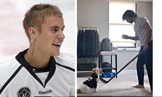 Фото №1 - Джастин Бибер повторил знаменитую тренировку Артемия Панарина, но с котом вместо собаки (видео)