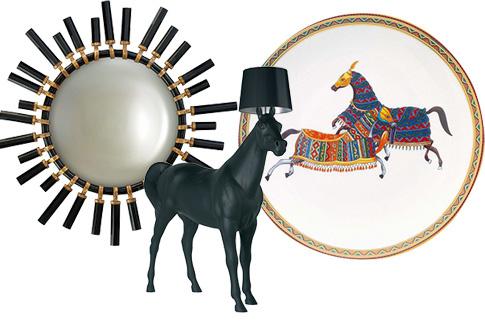 Илона собирает мебель ар-деко и декор с изображением лошадей: зеркало, Christopher Guy; светильник, Moooi Horse Lamp; тарелка Cheval d'Orient, Herme`s