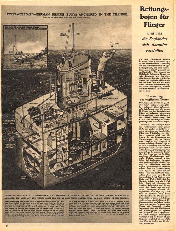 Страница из еженедельной иллюстрированной газеты The Illustrated London News со схемой «немецких спасательных буёв, размещенных в водах канала», 1940 год