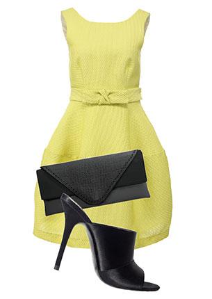Платье, P.A.R.O.S.H., lamoda.ru, 26 990 руб.; сумка-конверт, Orsa Oro, 1478 руб.; сабо, Zara, 3799 руб.