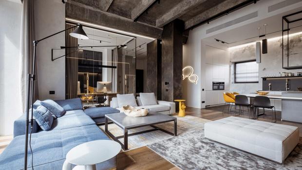 Фото №1 - Квартира 136 м² с бетонным потолком в Москве