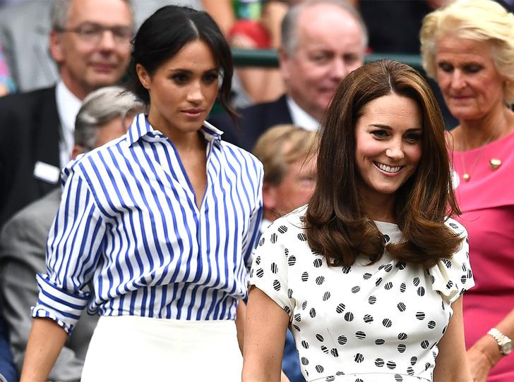 Фото №1 - Кейт в горошек и Меган в полоску: на что намекают две герцогини