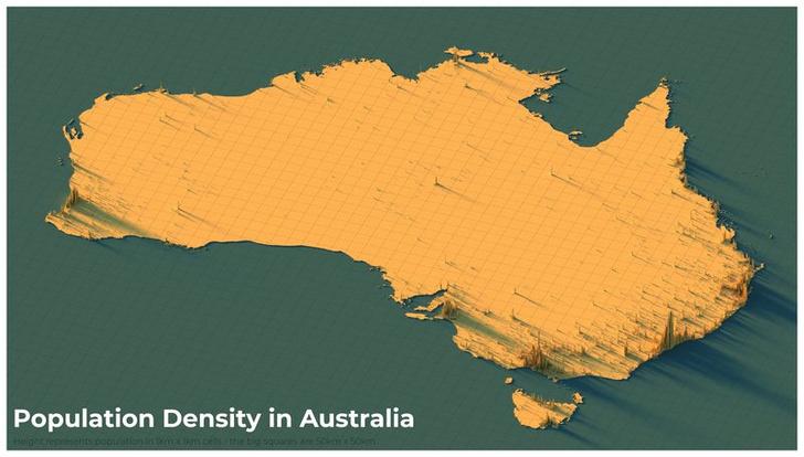 Фото №16 - Красивые трехмерные карты мира, показывающие распределение населения Земли
