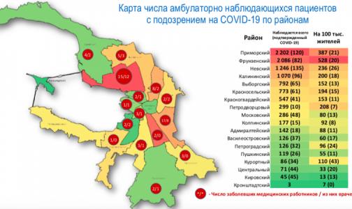 Фото №1 - В Петербурге создали карту распространения коронавируса по районам