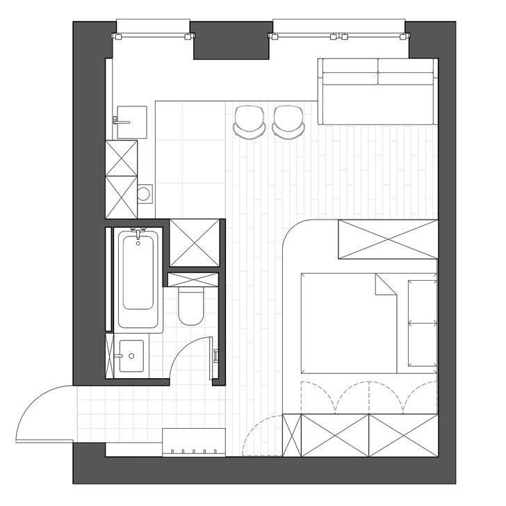 Фото №10 - Цветная студия 25 м² с кроватью на подиуме