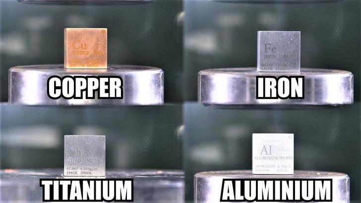 Фото №1 - Какой металл крепче под прессом: титан, железо, алюминий или медь (видео)
