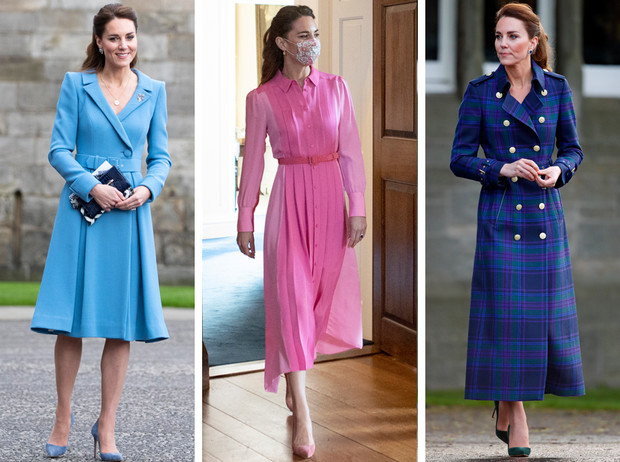 Фото №1 - Клетка, джинсы и костюмы: все наряды герцогини Кейт в туре по Шотландии