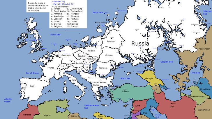 Фото №2 - Как будет выглядеть карта Европы, если уровень мирового океана поднимется на 100 метров