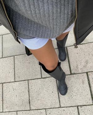 Фото №2 - Игра на контрастах: носите короткие шорты и юбки с высокими резиновыми сапогами