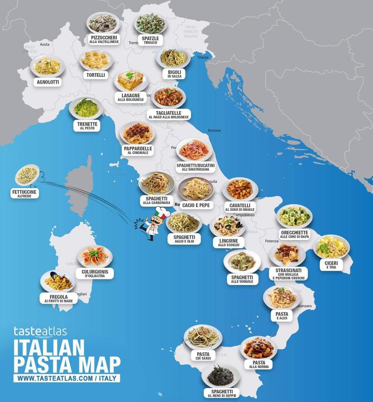 Фото №1 - Опубликована карта итальянской пасты по регионам